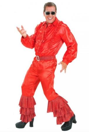 rødt disko kostume til mænd 304x450 - Røde kostumer til voksne