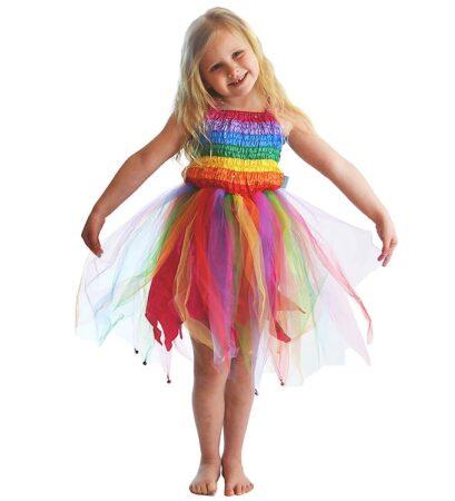 Den Goda Fen fe regnbue kjole 409x450 - Regnbue kostumer til børn
