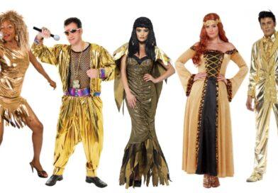 guld kostumer til voksne, guld voksenkostumer, guld udklædning til voksne, guld fastelavnskostumer til voksne, guld kostumer til kvinder, guld kostumer til mænd, guld temafest