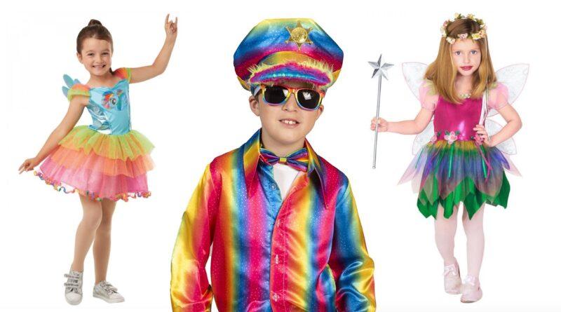 regnbue kostumer til børn, regnbue udklædning til børn, regnbue børnekostumer, regnbue fastelavnskostumer til børn