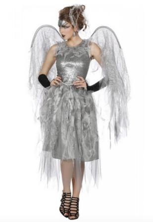 Uhyggelig Sølv Engel Kostume 309x450 - Sølv kostumer til voksne