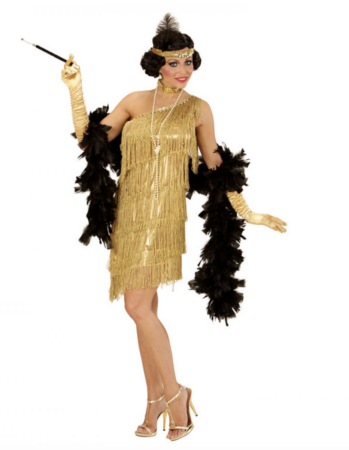 guld Charlestonkjole med Frynser guld kostumer til voksne 349x450 - Guld kostumer til voksne