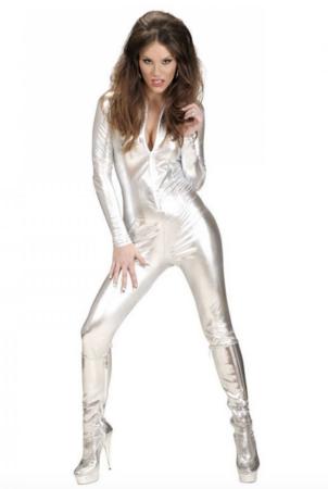 sølv catsuit kostume til voksne 302x450 - Sølv kostumer til voksne