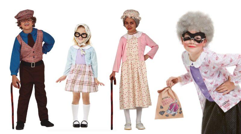 bedstemor kostume til børn, bedstemor børnekostume, bedstemor udklædning til børn, bedstemor fastelavnskostume til børn, bedstefar kostume til børn, bedstefar børnekostume, gammel mand kostume til børn, gammel mand fastelavnskostume til børn